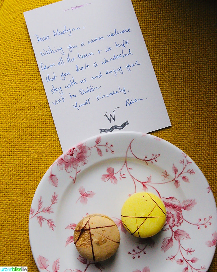 welcome macarons at Wilder Townhouse