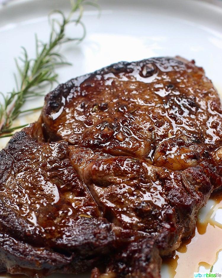 Cast iron rib eye steak