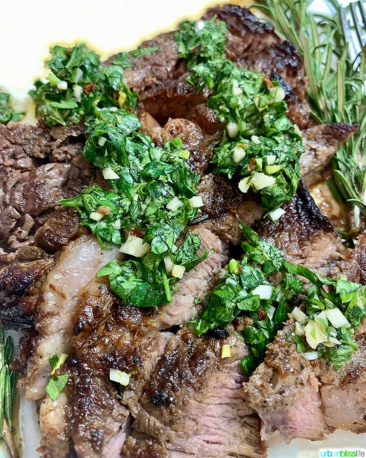 Cast iron rib eye steak with chimichurri sauce