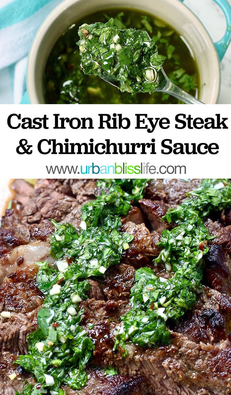 Cast iron rib eye steak with chimichurri sauce recipe