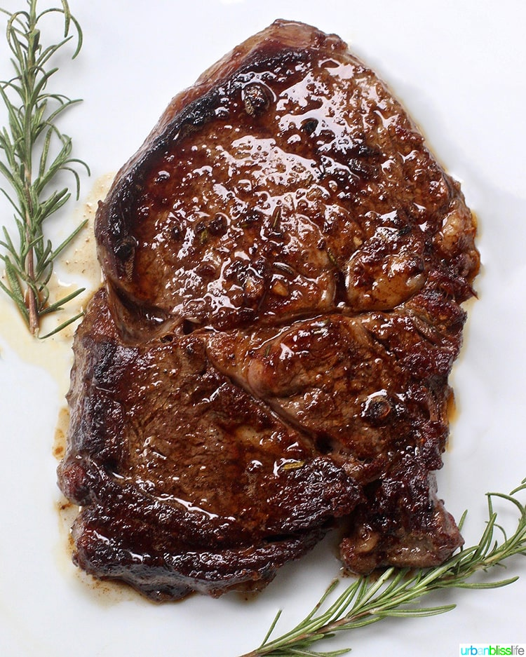 Cast iron rib eye steak