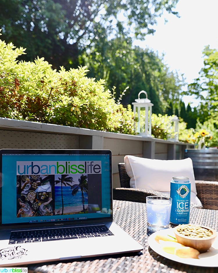 working outside with healthy snacks to beat the mid-day slump