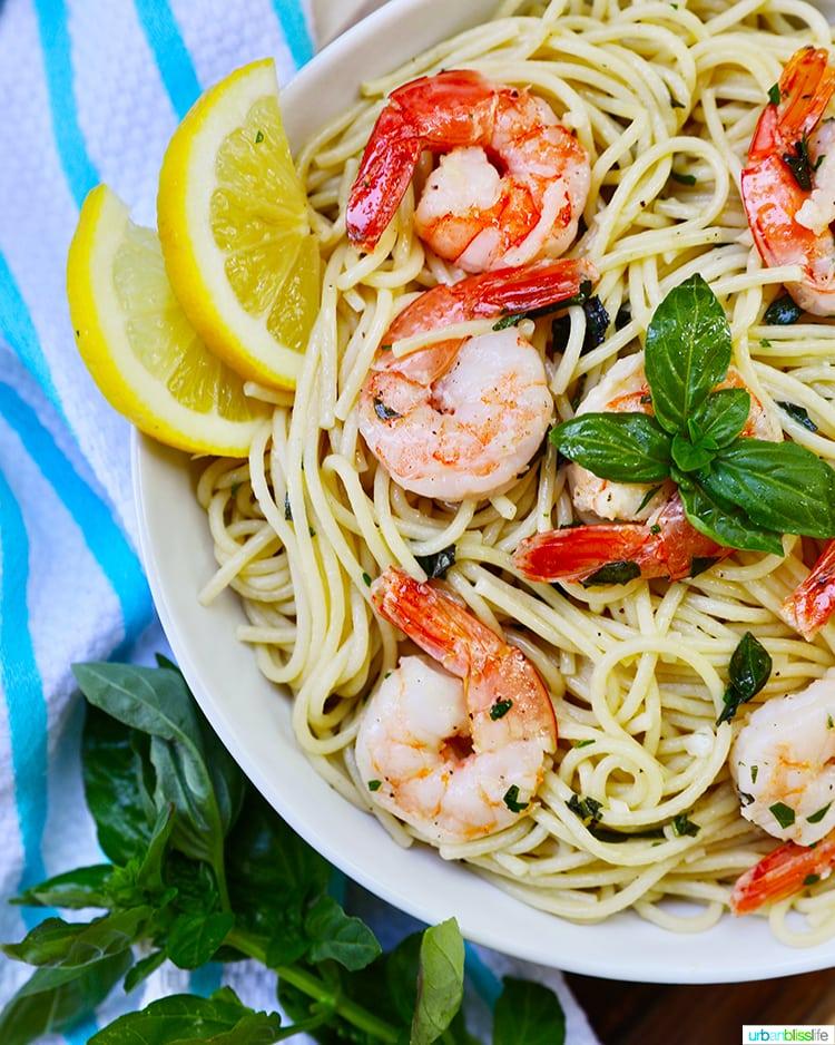 side of shrimp pasta bowl