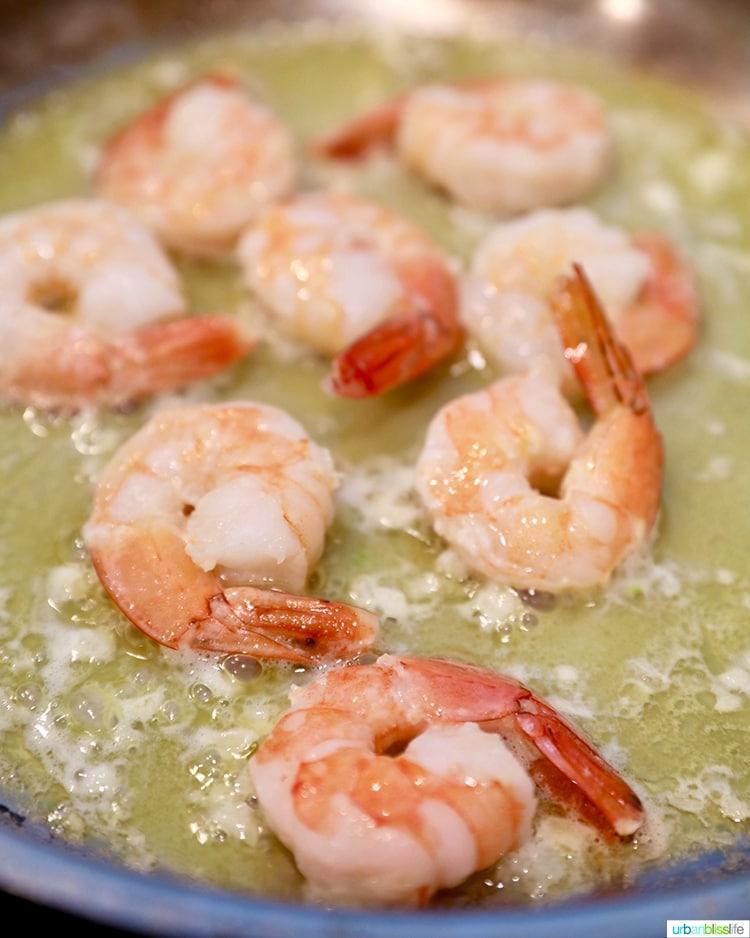 shrimp scampi sauteeing