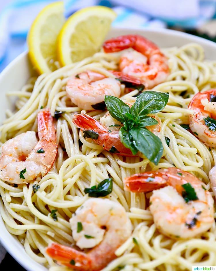 close up angle of shrimp pasta