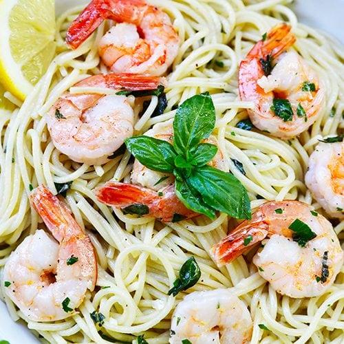 wide of shrimp pasta