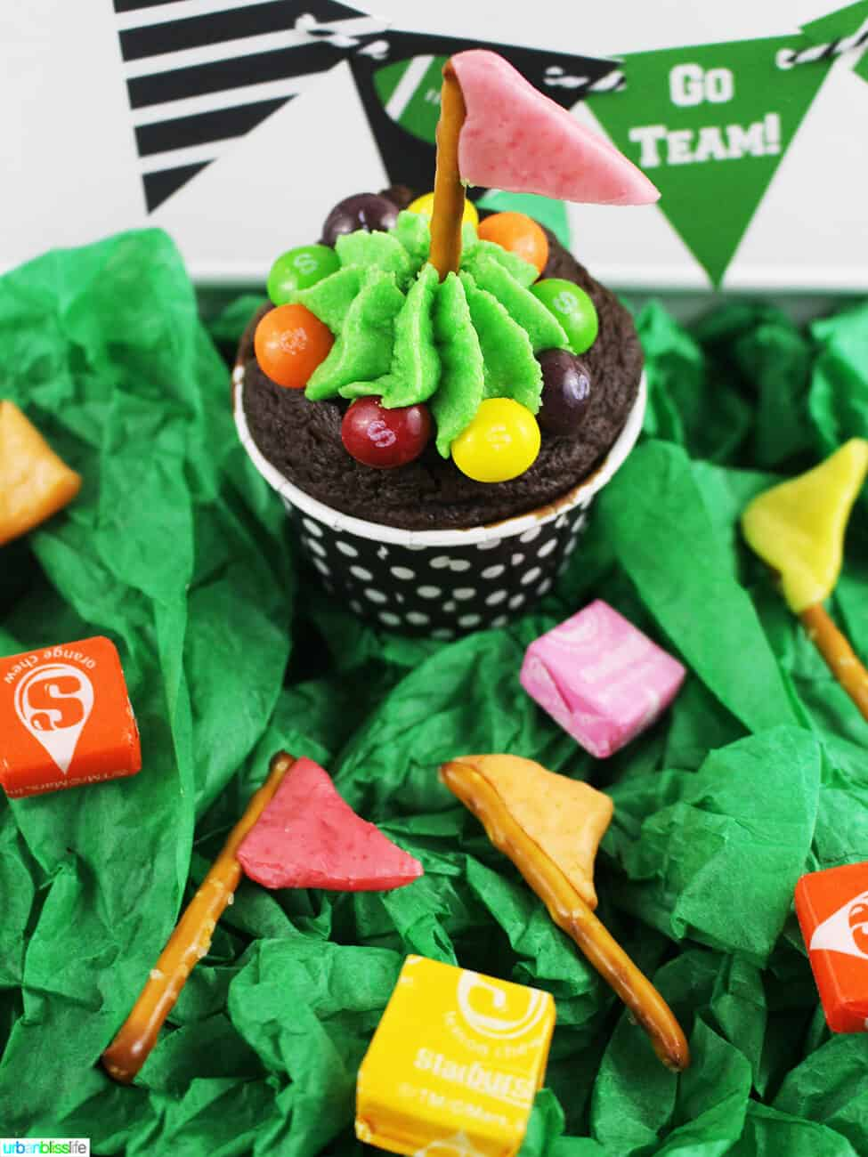 game day pretzel flags on cupcake and candy
