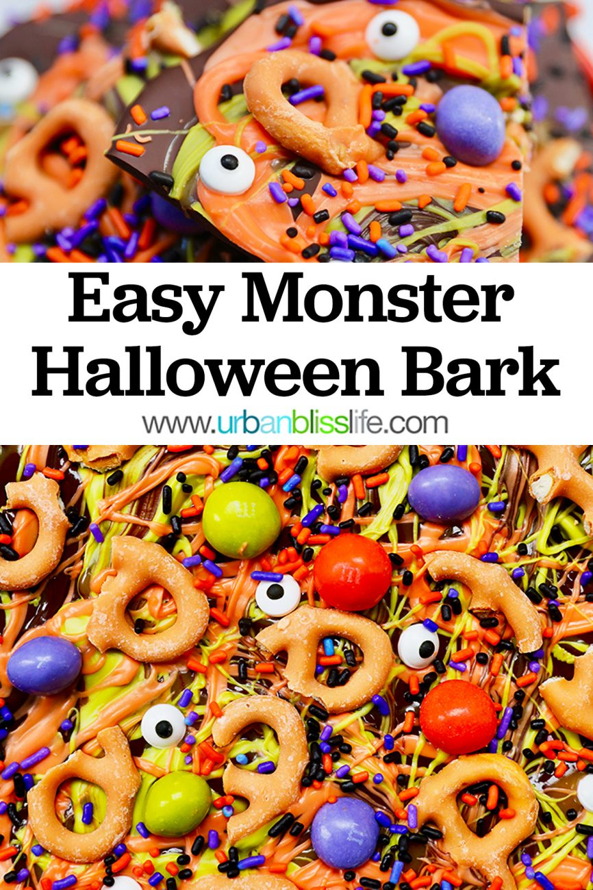 closeup of monster halloween bark candy with text overlay