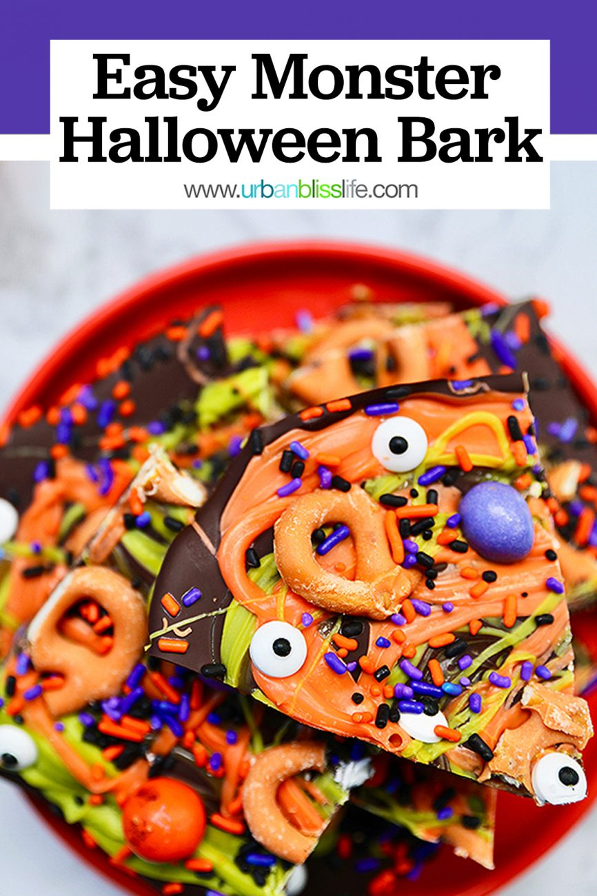 cut pieces of monster halloween bark candy with text overlay