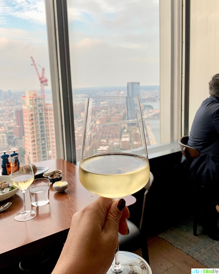white wine New York City skyline view at Manhatta restaurant