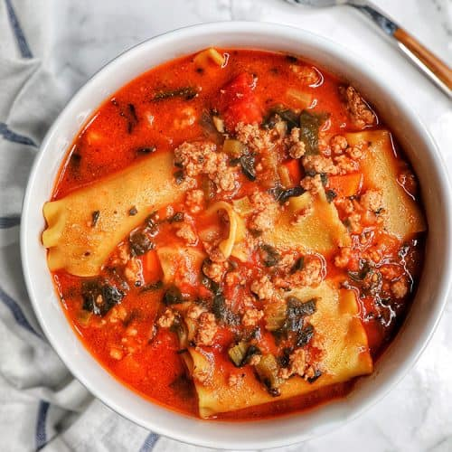 bowl of Easy One-Pot Lasagna Soup