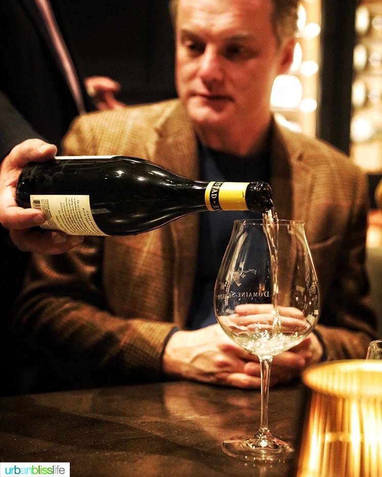 white wine pour at Domaine Serene