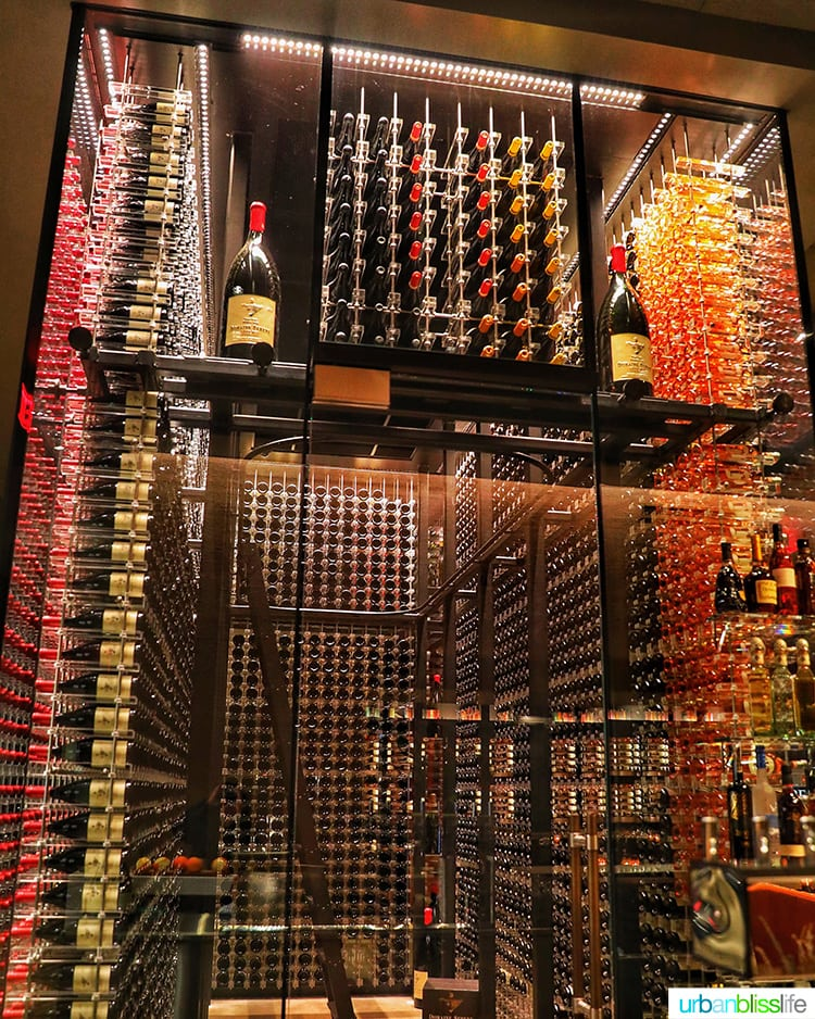 massive glass wine cellar at Domaine Serene Wine Lounge Lake Oswego