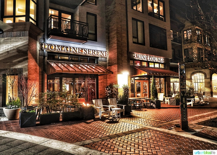 exterior of Domaine Serene Wine Lounge Lake Oswego at night