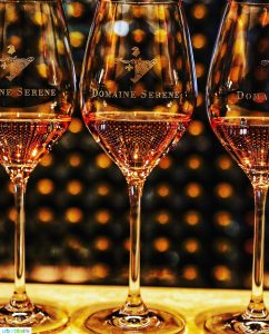 rose wine glasses at Domaine Serene Lake Oswego