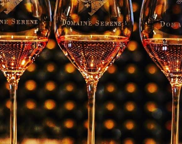 rose wine glasses at Domaine Serene Lake Oswego