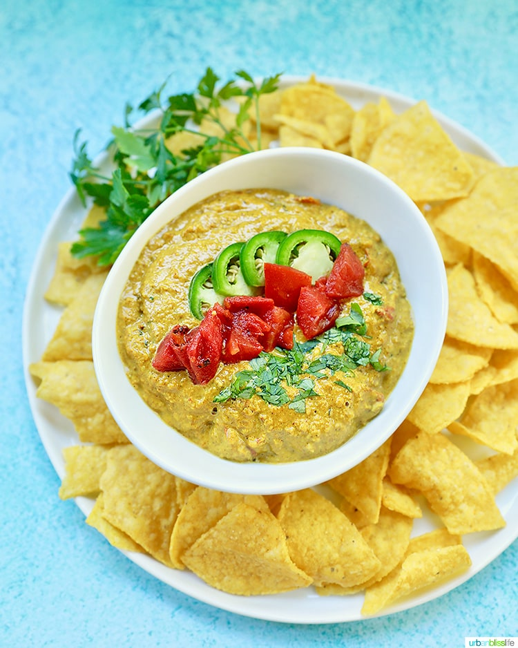 tall photo of Dairy Free Queso Dip and chips