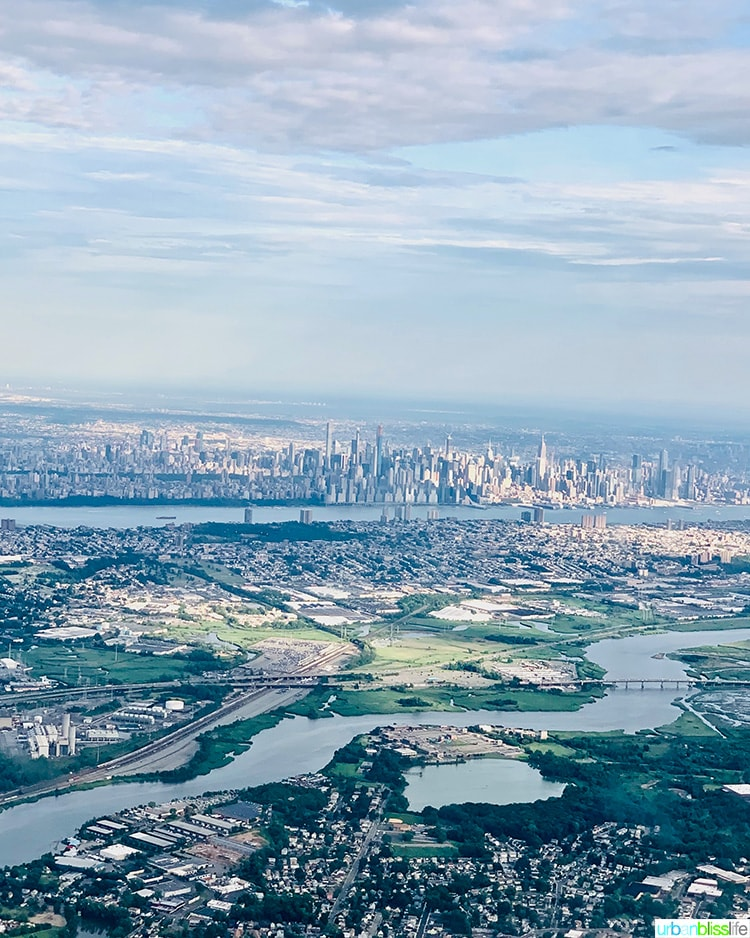 view of NYC from plane