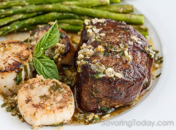 Scampi-Style Steak and Scallop Dinner for Two