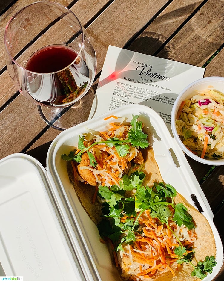 red wine and tacos from Andrae's Kitchen Walla Walla