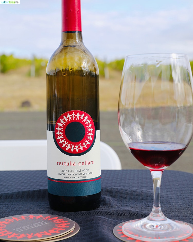 Tertulia Cellars CC red blend wine glass and bottle