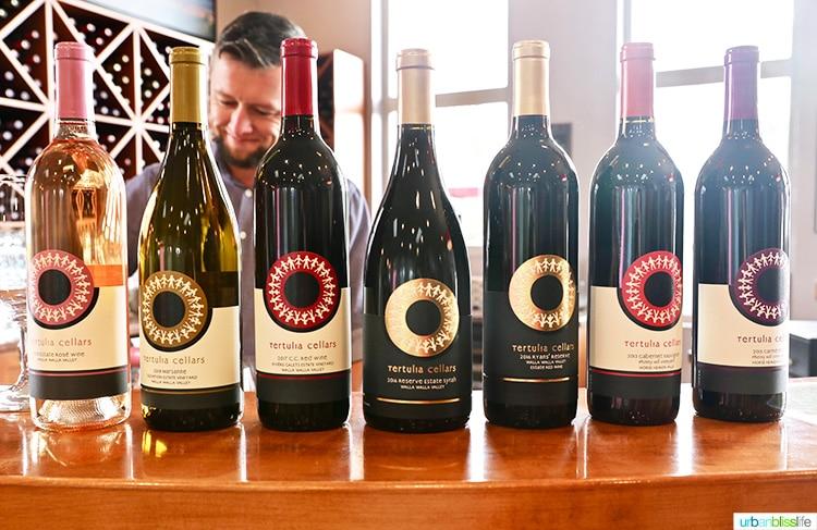 Tertulia Cellars wine bottles in tasting room