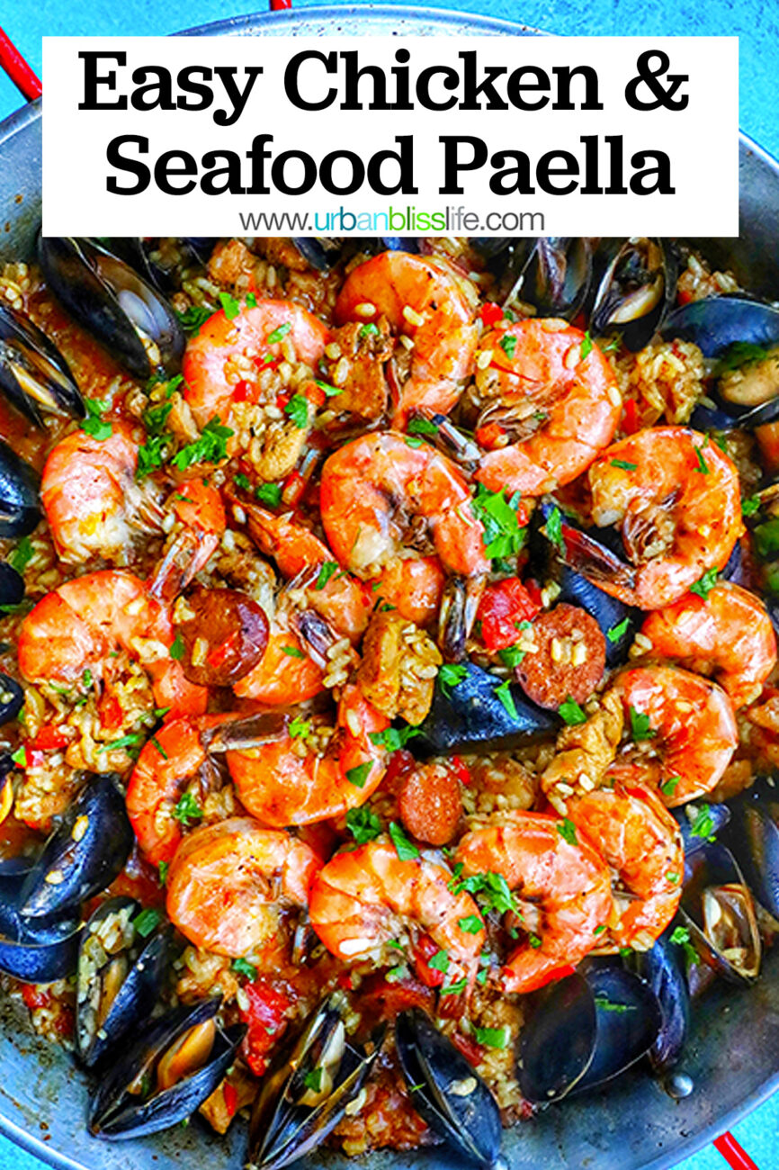 chicken chorizo shrimp mussels seafood pasta with title text