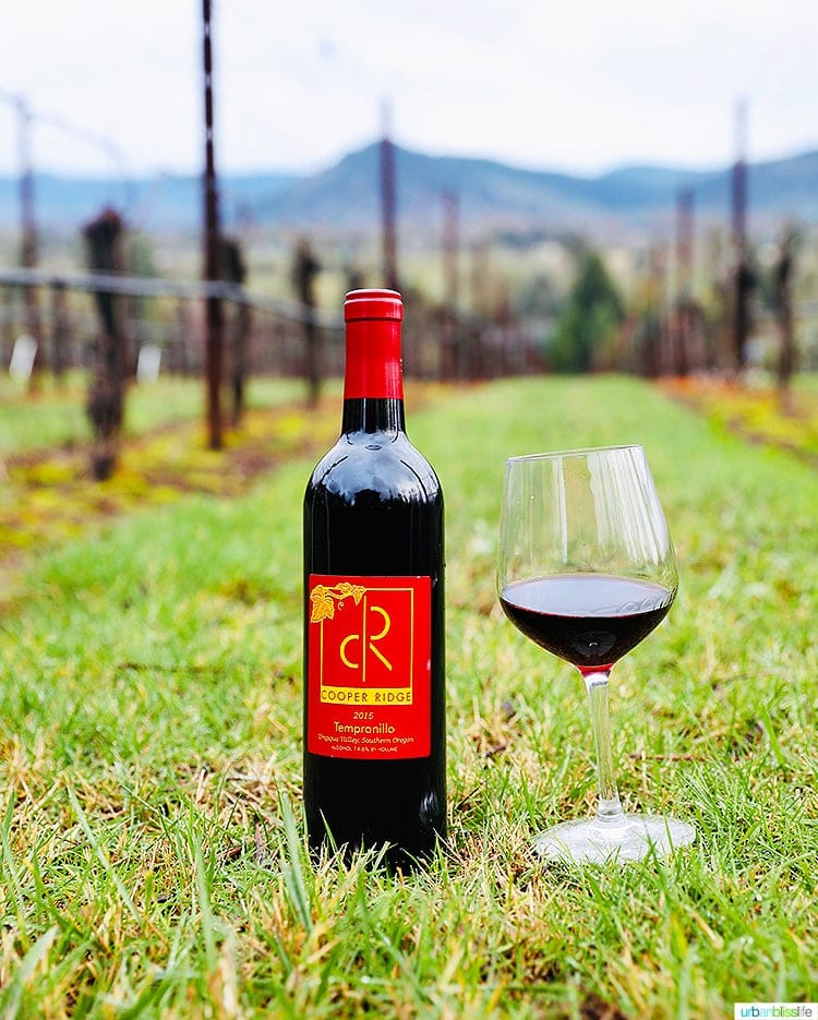 wine bottle and red wine glass at Roseburg wineries