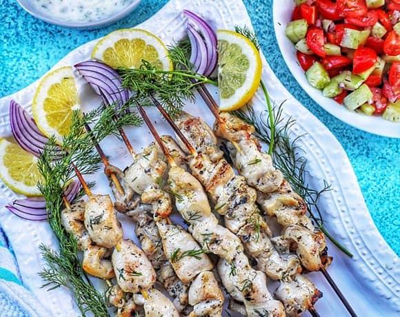 Greek Chicken Souvlaki Feature