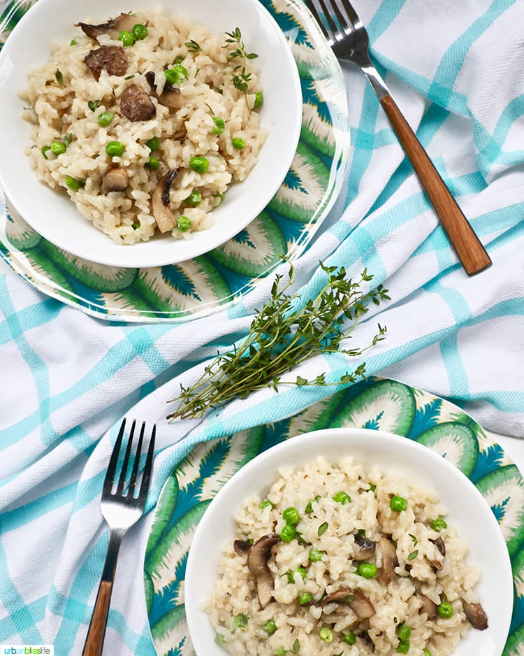 two bowls of Instant Pot Mushroom Risotto