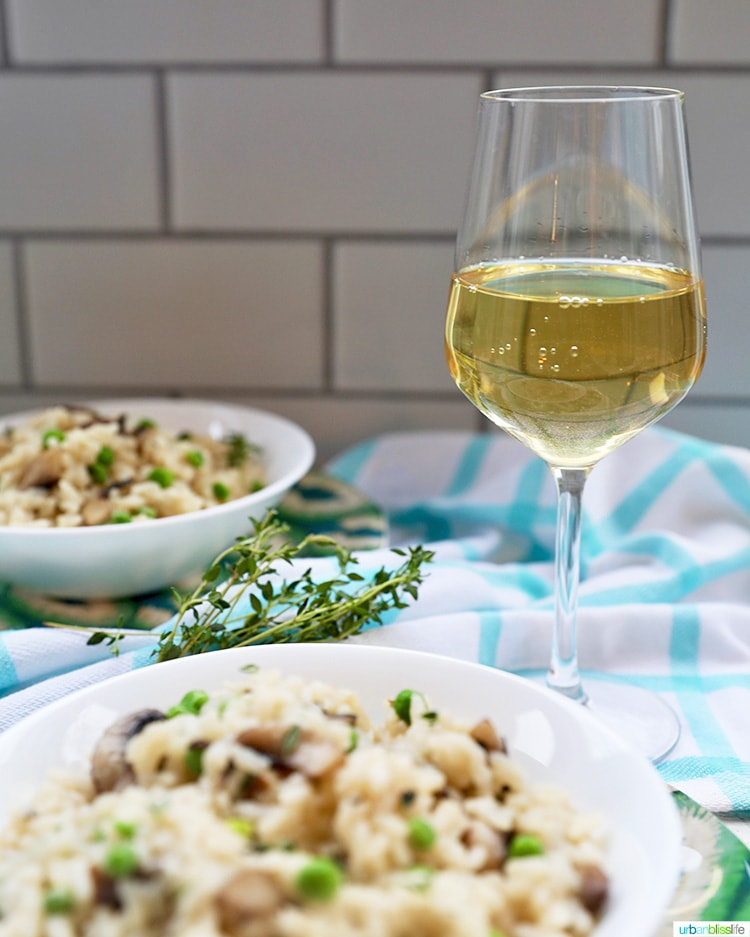 Instant Pot Mushroom Risotto with wine