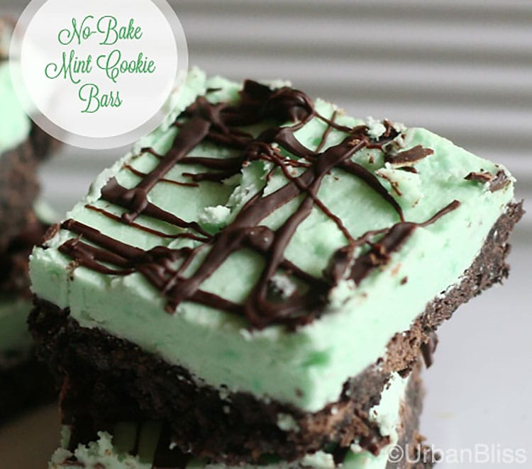 chocolate mint no bake cookie bar recipe on UrbanBlissLife.com