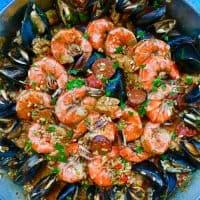 closeup of full pan of seafood paella