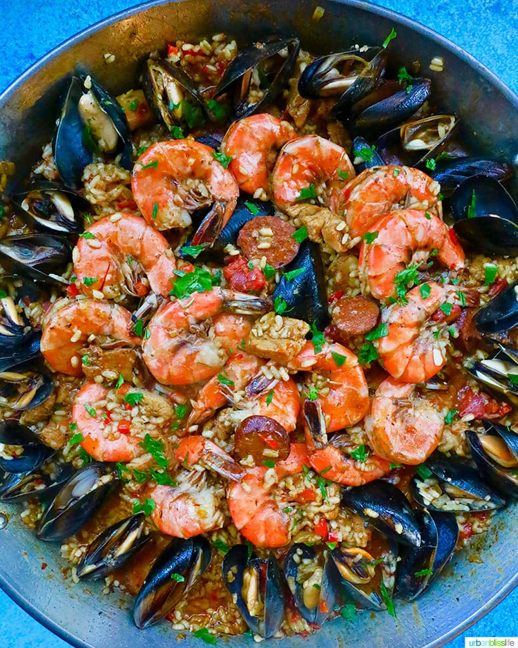 closeup of full pan of seafood paella