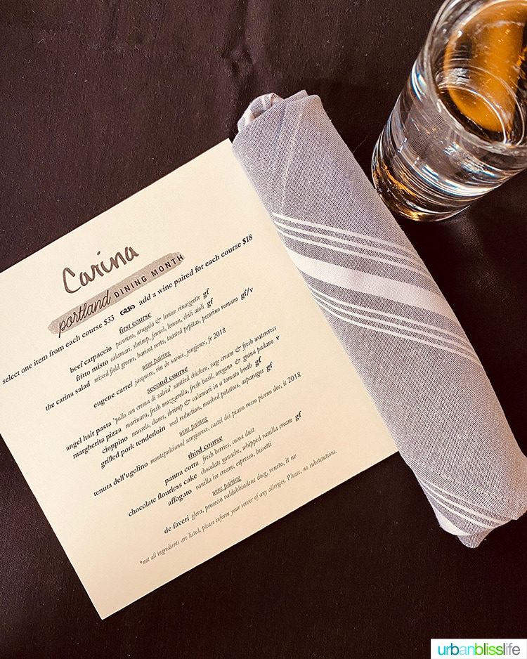 Carina Lounge Portland Dining Month 2020 menu