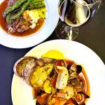 cioppino and pork tenderloin at Carina Lounge Portland Dining Month 2020 menu