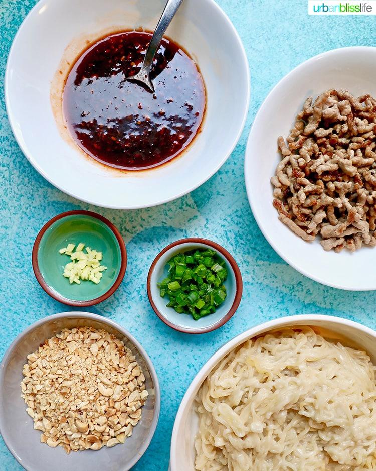 ingredients for pork and peanut dragon noodles