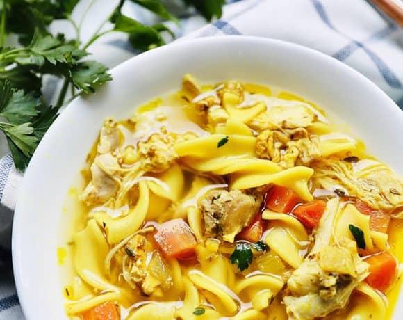 bowl of Instant Pot Chicken Noodle Soup