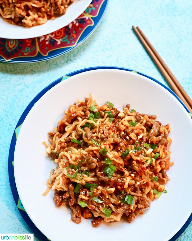 spicy pork and peanut dragon noodles