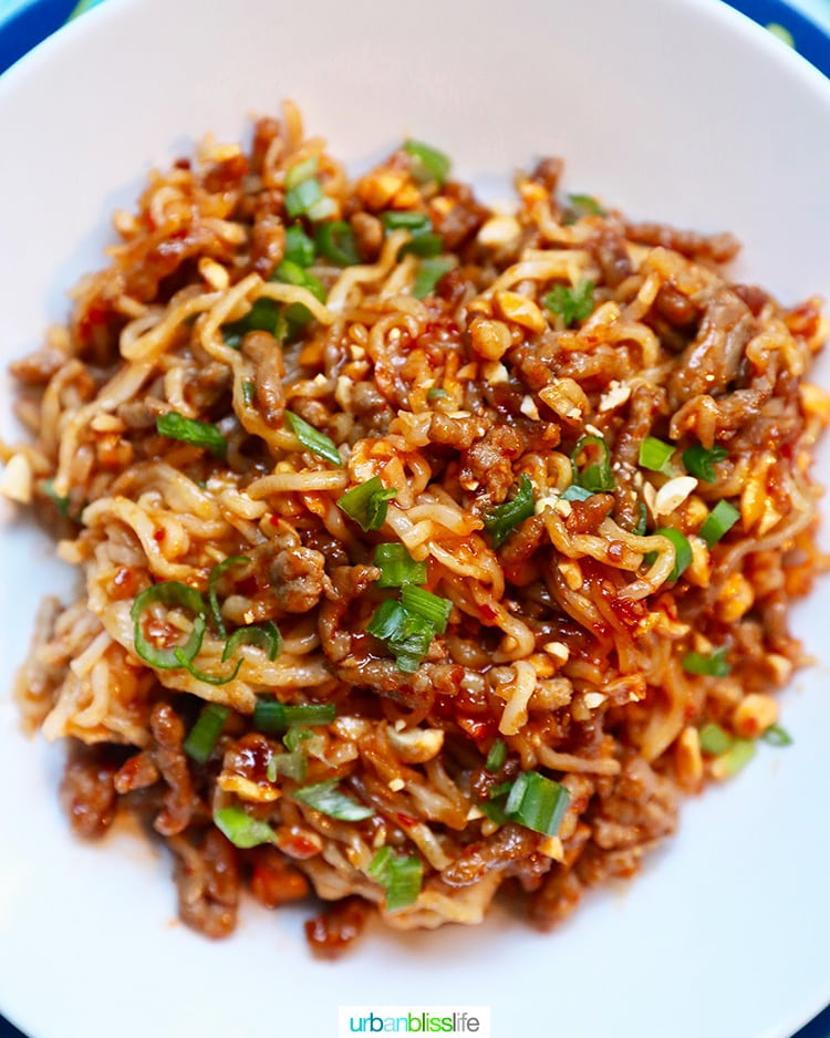 family friendly dinner idea: pork and peanut dragon noodles