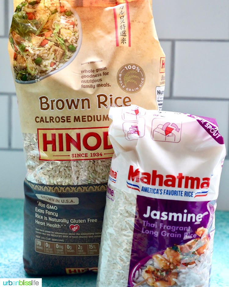 brown rice and jasmine rice pantry staples