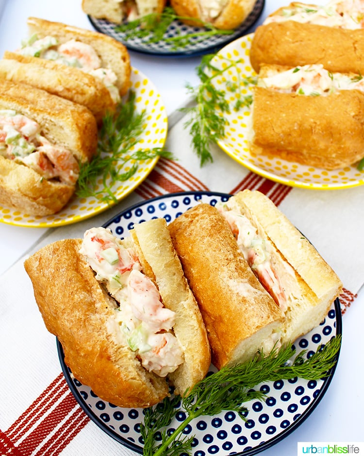 table of shrimp rolls