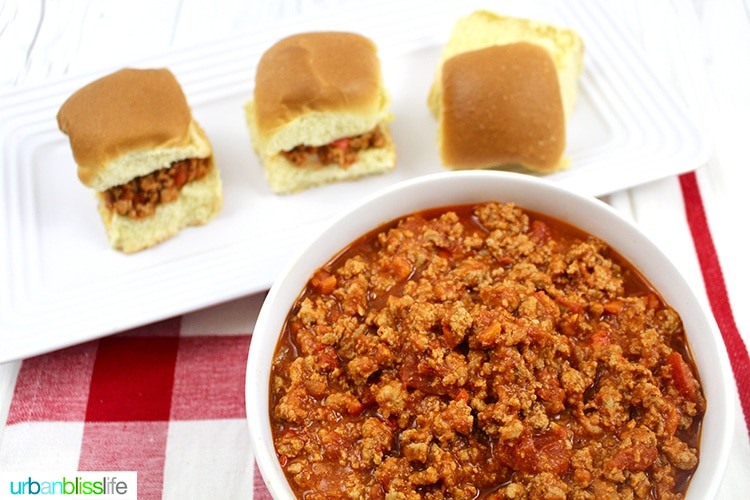 landscape photo of Sloppy Joe Slider meat with three sliders