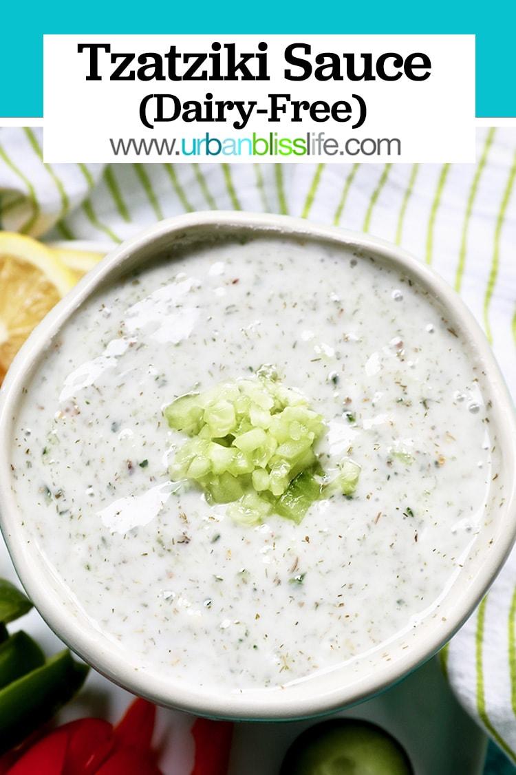 close up of vegan tzatziki sauce