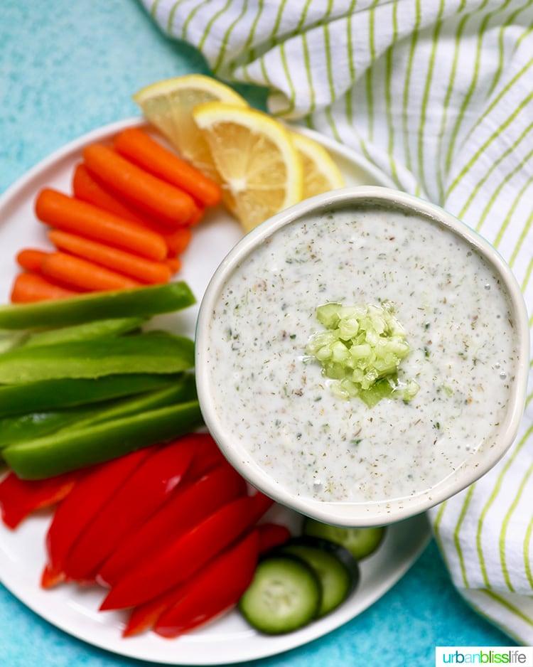 wide shot of vegan tzatziki with vegetables