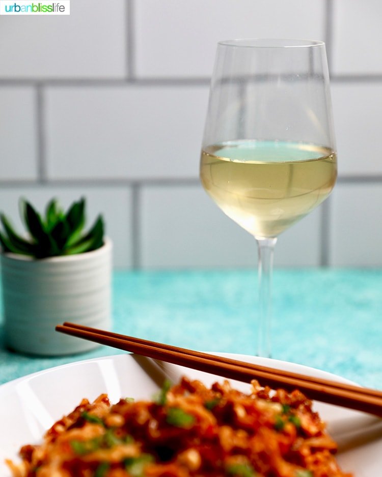 white wine with peanut noodles
