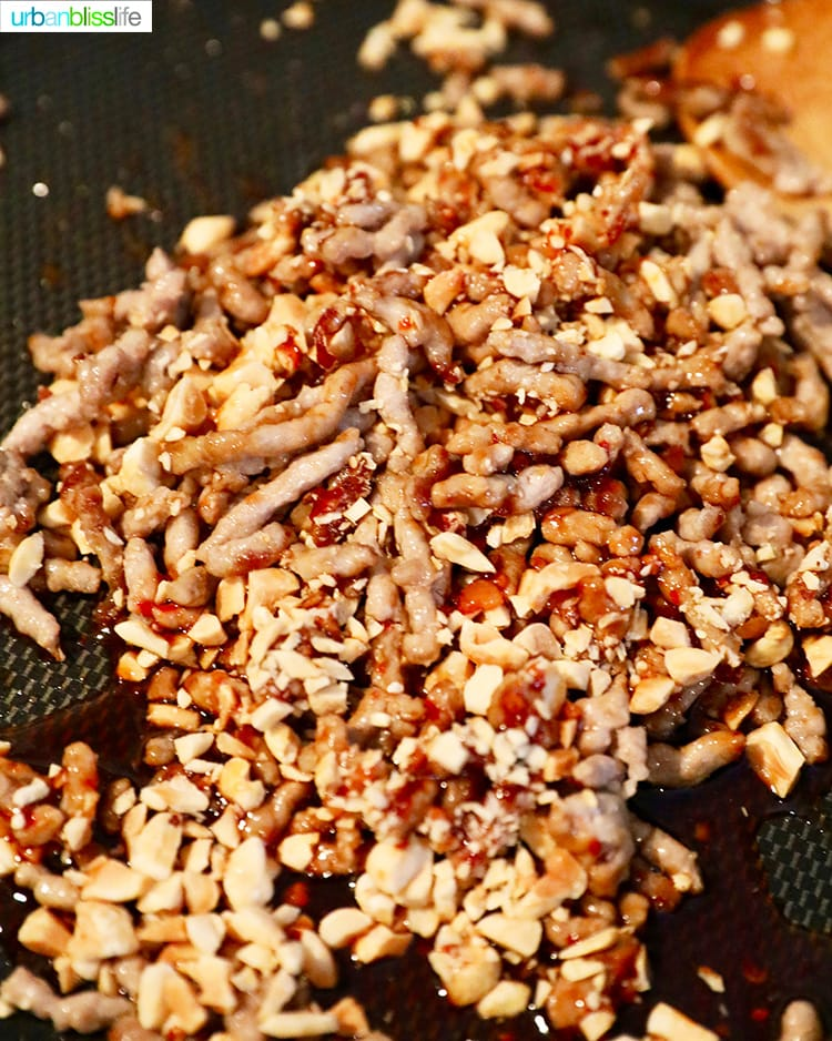 cooking pork and peanuts