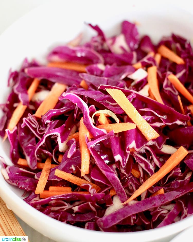 red cabbage and carrot slaw for tacos