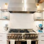 jennair range and custom hood floating shelves