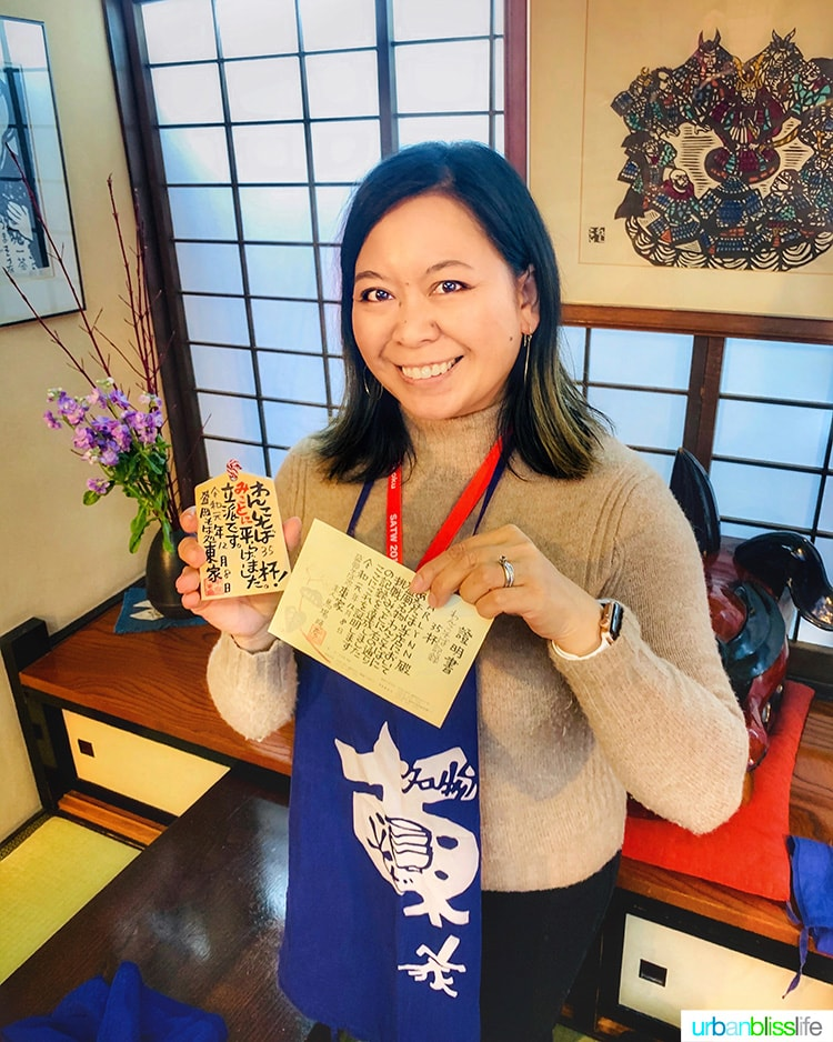 Marlynn with wanko soba food challenge completion certificate